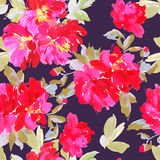 Seamless summer pattern with watercolor flowers Royalty Free Stock Photo