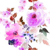 Seamless summer pattern with watercolor flowers Royalty Free Stock Photos