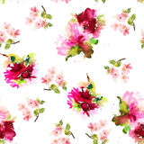 Seamless summer pattern with watercolor flowers Royalty Free Stock Photography