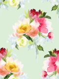 Seamless summer pattern with watercolor flowers. Handmade Royalty Free Stock Photos