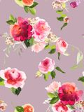 Seamless summer pattern with watercolor flowers. Handmade Royalty Free Stock Image