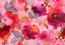 Seamless summer pattern with watercolor flowers. Handmade Royalty Free Stock Photo