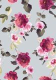 Seamless summer pattern with watercolor flowers. Handmade Stock Photo