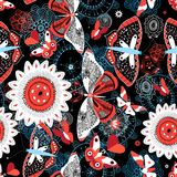 Seamless Summer Pattern With Butterflies And Flowers Stock Photos