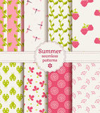Seamless summer patterns. Vector set. Royalty Free Stock Photo