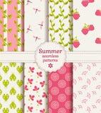 Seamless summer patterns. Vector set.