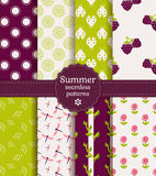 Seamless summer patterns. Vector set. Set of summer seamless patterns. Vector illustration Royalty Free Stock Photography