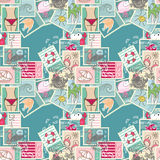 Seamless Summer Postage pattern. In Blue Royalty Free Stock Photo