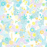 Seamless summer print. Abstract background of trees and flowers. In a doodle style. Handmade. Prints for textiles. Vector illustration stock illustration