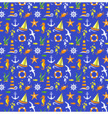 Seamless summer sea pattern  on blue Stock Photography