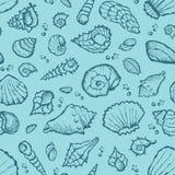 Seamless summer shell pattern Royalty Free Stock Photos