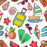 Seamless summer symbols Royalty Free Stock Photo