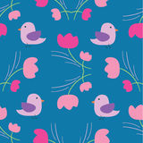 Seamless summer tiny floral with bird pattern on blue background Royalty Free Stock Photography