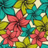 Seamless summer tropical background with exotic flowers, vector illustration. Seamless summer tropical background with exotic flowers, space for text, vector Stock Photography