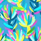 Seamless summer tropical floral pattern Royalty Free Stock Image