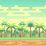 Seamless summer tropical forest nature landscape vector illustration for computer games. Seamless landscape summer tropical forest, nature landscape vector Royalty Free Stock Photo