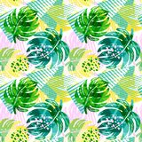 Seamless summer tropical leaves pattern Stock Image