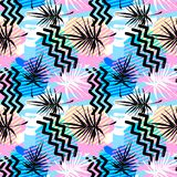 Seamless summer tropical leaves pattern, textile doodle grunge t Royalty Free Stock Image