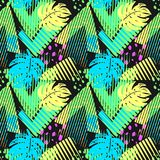 Seamless summer tropical leaves pattern Stock Photos