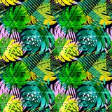 Seamless summer tropical leaves pattern Royalty Free Stock Photos