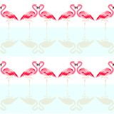 Seamless summer tropical pattern with cute flamingo bird royalty free illustration