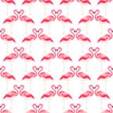 Seamless summer tropical pattern with flamingo bird stock illustration