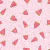 Seamless summer watermelon pattern. Vector dotted background for fabric, wallpaper, scrapooking projects. stock photos