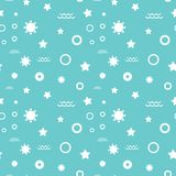 Seamless summer white dots and waves pattern on blue background. Seamless summer white dots and waves pattern vector on blue background Royalty Free Stock Photo