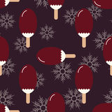 Seamless summer, winter mood pattern with sweet ice cream and snowflakes. Texture with cold desserts, ice cream fudge sundae. Stock Photos