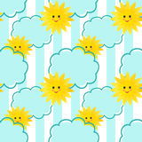 Seamless sun and clouds kids pattern background Royalty Free Stock Photo