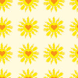 Seamless sun with hearts. Seamless texture with the yellow sun with heart signs inside Royalty Free Stock Photo