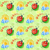 Seamless with sun and   ladybirds Royalty Free Stock Image