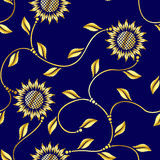 Seamless sunflower arabesque sari pattern Royalty Free Stock Images