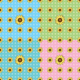 Seamless Sunflower pattern. In four colors Stock Photo