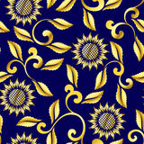 Seamless sunflower and swirls sari pattern Stock Image