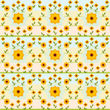 Seamless sunflower vector pattern. Royalty Free Stock Photography