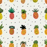 Seamless sunny pineapple pattern. Decorative Pinapple with different textures in warm colors. Exotic fruits background. For Fashion print textile fabric covers royalty free illustration