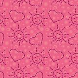 Seamless, suns and hearts from footprints Royalty Free Stock Photo