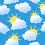 Seamless sunshine background. Seamless background with clouds and sunshine Stock Photos