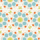 Seamless sunshine pattern with flowers Stock Photo