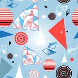 Seamless bright geometric pattern triangles and circles royalty free illustration