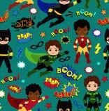 Seamless superhero boys background pattern.