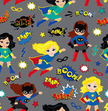 Seamless superhero girls background pattern in vector. royalty free illustration