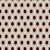 Seamless surface pattern with repeated ancient shields. Geometric figures background. Simple ornament with scale motifs. Seamless surface pattern with repeated Stock Photo