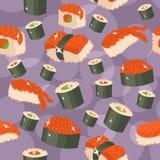 Seamless sushi background Stock Images