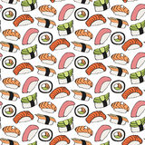 Seamless sushi pattern. Vector illustration Royalty Free Stock Photography