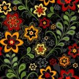 seamless svart blom- modell royaltyfri illustrationer