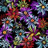 seamless svart blom- modell Royaltyfri Foto