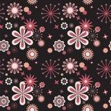 seamless svart blom- modell för bakgrund Arkivfoto
