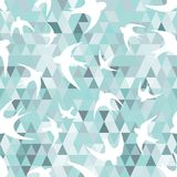 Seamless with the swallows, and triangles. Seamless texture with the swallows, and triangles  White silhouettes of birds  Mosaic effect Stock Image